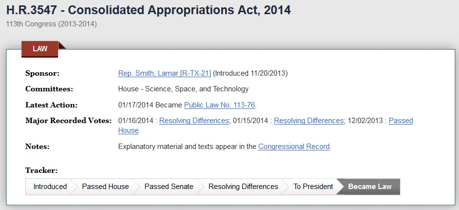 HR 3457 Consolidated Appropriations Act 2014